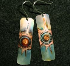 Green copper earrings rectangular oxidized copper by Dawily, $22.00