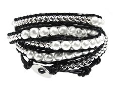 """Thalia Elegant Beaded Black Leather Wrap 39 Inch Bracelet 5x Wrap in Gift Box. Stylish and Elegant """"Thalia"""" Black Leather Wrap Bracelet. Extra Long 39 Inch Length Wraps 5x Around Wrists. Adjustable Loops For The Perfect Fit, Closes With A Silvertone Button. Quality Handwoven Bracelet Looks Great With Casual and Dressy Fashions. Foil Linen Gift Box - Ready To Give or To Send To Recipient."""