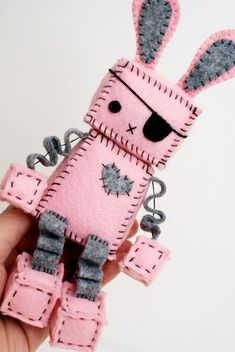Pink Punk Robot Bunny with an Eye Patch, Bunny Ears and Paw Prints, Pirate Bunny Rabbit Cute Crafts, Felt Crafts, Crafts For Kids, Arts And Crafts, Sewing Toys, Sewing Crafts, Sewing Projects, Craft Projects, Kawaii Plush