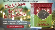 'Tis the season warmer that comes with it's own chalk so you can count down the days to Christmas with your kids or kids at heart! And even better this warmer is 40% while supplies last!!  https://scentsualaddictions.scentsy.us/Scentsy/Buy/ProductDetails/DSW-TTSN?categoryId=1143