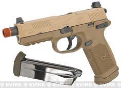 FN Herstal FNX-45 Tactical Airsoft Gas Blowback Pistol by Cybergun - Dark Earth (Package: Add Extra Magazine)