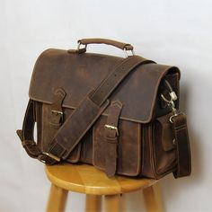 """Handmade vintage leather messenger bag / leather briefcase / leather satchel / 13"""" macbook 13"""" laptop bag #n23"""