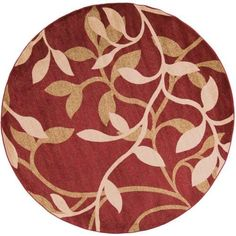 Surya RLY5011-8RD Riley 8' Round Polypropylene Power Loomed Floral Area Rug - Red