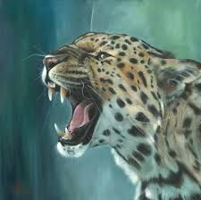 ARTFINDER: 'Amur Leopard' by Nicola Colbran - Oil painting of a roaring Amur Leopard, one of the most endangered cats in the world. It is believed that there are only about left in the wild. Amur Leopard, Leopard Animal, Big Cats Art, Cat Art, Animal Paintings, Animal Drawings, Tiger Artwork, Jaguar Animal, Rare Animals