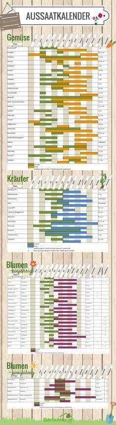 Pflanzenkalender für Gemüse, Kräuter und Blu