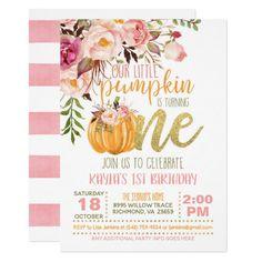 Floral Pumpkin First Birthday Invitation - Girl Halloween First Birthday, First Birthday Themes, First Birthday Gifts, Baby Girl First Birthday, Birthday Ideas, Birthday Photos, November Birthday Party, Farm Birthday, Birthday Bash
