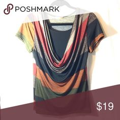 NWOT Autumn-colored dressy top Never worn, just has no tags! Made of 93% polyester, 7% spandex. When you bundle 3+ items from me, you get a discount of 15% off, you only pay shipping ONCE, and you get a FREE gift! Tops