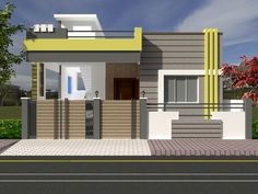 Single Floor House Design, House Front Design, Small House Design, Bungalow House Design, House Elevation, Indian Home Decor, Exterior, 3d, Mansions