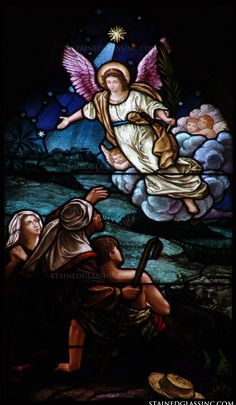 An angel of the lord is depicted informing the shepherds of the birth of Christ. Stained Glass Church, Stained Glass Angel, Stained Glass Windows, My Father's House, St Joan, Christmas Windows, Church Windows, Stained Glass Designs, God Jesus