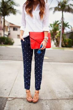 White shirt, blue trousers, camel sandals, red purse. Street women fashion outfit clothing style apparel @roressclothes closet ideas