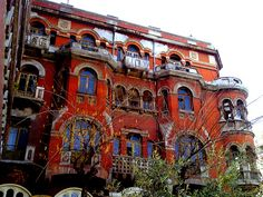 """The """"Red House"""" is located in the center of Thessaloniki. Erected in 1926 and designed by architect """"Gennari. Ancient Greek Theatre, Old Greek, D House, Macedonia, Greece Travel, Greek Islands, Oh The Places You'll Go, National Parks, Greece Thessaloniki"""