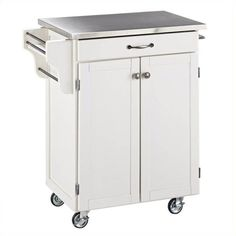 Home Styles Furniture White Kitchen Cart with Stainless Steel Top ($277) ❤ liked on Polyvore featuring home, kitchen & dining, white, white kitchen cart, white spice rack, mobile kitchen cart, door spice rack and spice storage rack