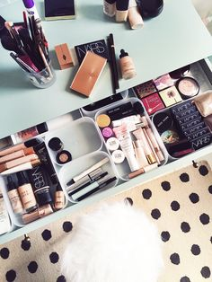 When sorting your makeup You can even use plastic food container boxes.