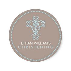 An elegant cross designed of swirling curls and fleur de lis patterns, this would make a beautiful seal on baptism, christening, communion, or confirmation envelopes or on party favors. #cross #religion #religious #communion #baptism #christening #christian #confirmation #blue #boy #crucifix #elegant #formal #catholic
