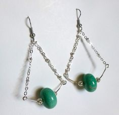 Aqua colored stone and silver earrings