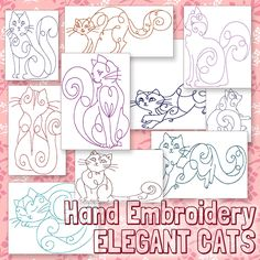Hand Embroidery Cat Patterns - Redwork Kitty Designs - Elegant Cats in 4 Sizes - PDF - Instant Download by HandEmbroideryDesign on Etsy https://www.etsy.com/listing/223147940/hand-embroidery-cat-patterns-redwork