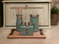 Rustic Salt and Pepper Shakers Painted Salt and Pepper Sets