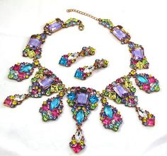 STUNNING! LILIEN Czech Rhinestone Necklace and Earring Set  sumnersedge3 (seller) ebay.com
