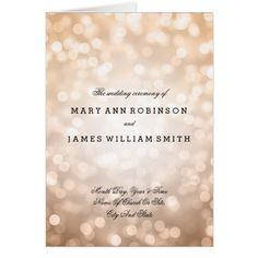 Wedding Program Copper Glitter Lights