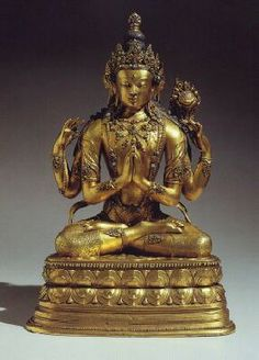 18th century, Mongolia, gilt copper alloy, bodhisattva Shadakshari Lokeshvara, published by Rossi.