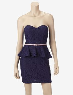 City Triangles Belted Lace Peplum Dress