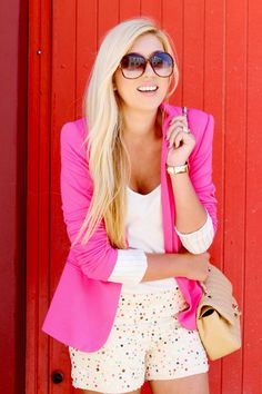 Bright pink blazer paired with sequinned shorts (pretty much all the outfits on www.superficialgirls.com/ are amazing!)