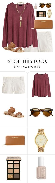 """""""burgundy"""" by classically-preppy ❤ liked on Polyvore featuring J.Crew, H&M, Jack Rogers, MICHAEL Michael Kors, Kate Spade, Bobbi Brown Cosmetics, Essie and Kendra Scott"""