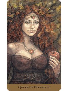 The Queen of Pentacles card from the Tarot of the Hidden Realm deck