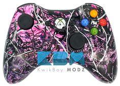 Muddy Girl Camo Xbox 360 Controller | www.KwikBoyModz.com/muddy-girl-camo-xbox-360-controller/  #MuddyGirl #MuddyGirlCamo #Xbox360 #Xbox360Controller #CustomController #CustomXbox360Controller #GamerGirl
