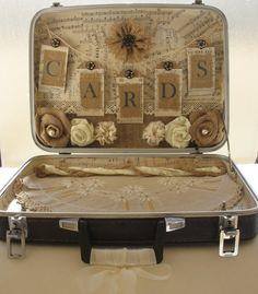 Vintage Suitcase Card Holder by ShabbyChicRose on Etsy