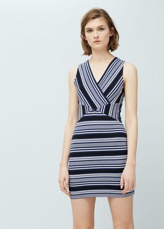 Striped fitted dress - Dresses for Women | MANGO USA