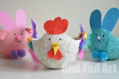 Cute Easter Baskets for kids - make these out of upcycled tissue paper and bits and pieces from around the home!
