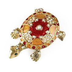 """""""Red & Gold Turtle Trinket Box Item No. KB00391A01 $22.39 This fancy red and golden #turtle opens up so you can keep small items inside. The outside is decorated with shiny clear crystals, hand-painted enamel, gold plating, and emerald colored eyes. This pewter based trinket box is fun to own, so grab the 3"""" long x 2"""" wide x 1"""" high turtle now!"""" Red Butterfly, Jewel Box, One Ring, Trinket Boxes, Small Gifts, Red Gold, Clear Crystal, Swarovski Crystals, Jewels"""