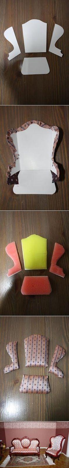 Miniatyr stol ol instruksjoner Кресло - Как сделать Кукольный домик,кукольную мебель,кукол и кукольную миниатюру.
