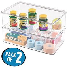 mDesign Storage Box Organizer for Vitamins Supplements Health Supplies  Set of 2 Medium Clear *** Learn more by visiting the image link. Note:It is Affiliate Link to Amazon.