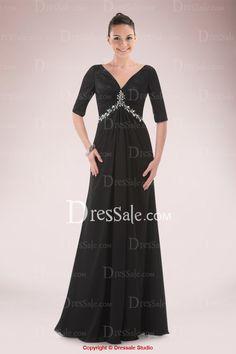 Graceful V-neck V-back Floor-length Mother of the Bride Dress Accented with Sequins