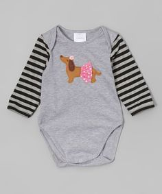 Look at this Silver & Black Stripe Dachshund Bodysuit - Infant on #zulily today!