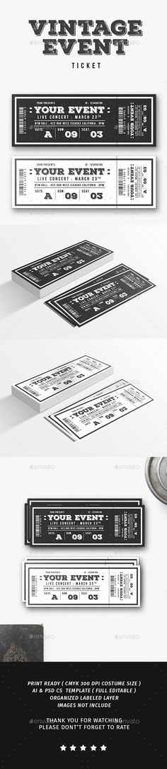 Vintage Event Ticket — Photoshop PSD #party #editable • Download ➝ https://graphicriver.net/item/vintage-event-ticket/19534072?ref=pxcr