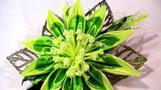 Цветок канзаши / DIY Kanzashi Flower Hair Clip / Kanzashi Flowers Tutori...