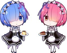 Rem and Ram Cutie! Loli Kawaii, Kawaii Chibi, Cute Chibi, Anime Chibi, Manga Anime, Anime Art, I Love Anime, Awesome Anime, Aho Girl