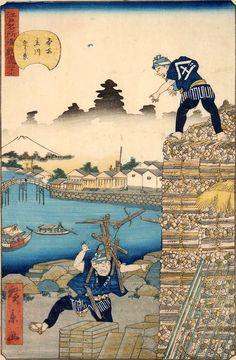 Utagawa Hirokage: The Wood Market in Edo - Ronin Gallery Traditional Japanese Art, China Painting, Japanese Painting, Short Trip, Japan Art, Vincent Van Gogh, Oriental, Marketing, Gallery