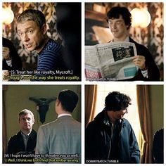 Sherlock finds John's sass amusing.