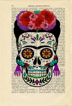 Sugar Skull FRIDA KHALO Girl Print Dia de los Muertos Poster