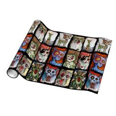 9 zombie cats wrapping paper
