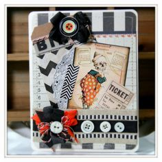 vintage style HALLOWEEN GREETING CARD clown by PollysPaper on Etsy, $7.00