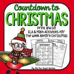 Countdown to Christmas Vacation ELA & Math No Prep Printables