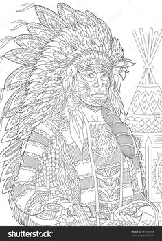 Red Indian Chief (Redskin Man) Wearing Traditional Headdress Adult Coloring Page Zentangle 481304098 : Shutterstock