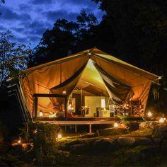 Glamping at nightfall - luxe tents, romance, sumptuous food Luxury Tents, Luxury Camping, Go Glamping, Hiking Tips, Best Hikes, Romantic Getaway, Gold Coast, Grand Canyon, Arizona