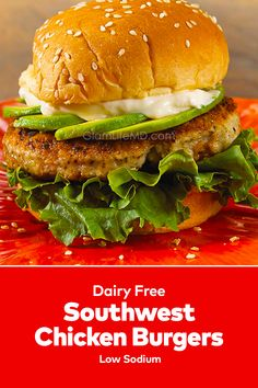 Get Southwest Turkey Burgers easy quick lunch recipes from Glamlifemd. Top cheeseburgers with 2 slices of cooked crisp bacon or turkey bacon and . Southwest Chicken, Quick Lunch Recipes, Turkey Burgers, Lunches And Dinners, Dairy Free, Delish, Easy Meals, Tasty