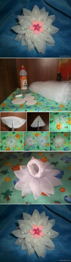 diy, tutorial by diyforever Kanzashi Flowers, Lace Flowers, Fabric Flowers, Crafts To Make And Sell, Easy Diy Crafts, Fun Crafts, Flower Crafts, Flower Diy, Glue Gun Crafts